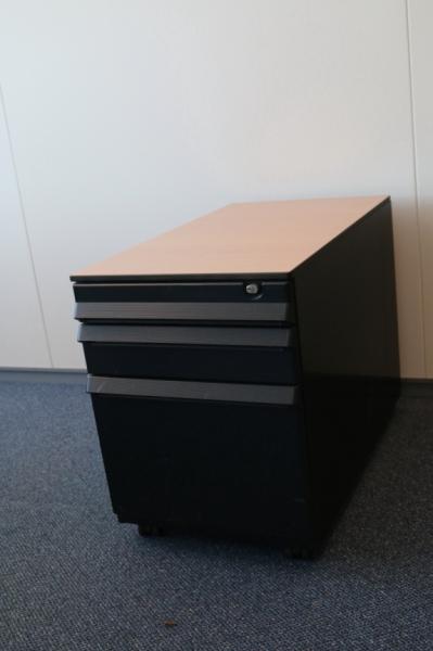 Ahrend ladeblok zwart metallic beuken for Zwarte ladeblok